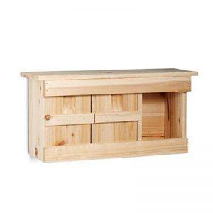 Relaxdays Nichoir à moineau avec 3 compartiments en bois avec portes HxlxP: 21,5 x 43 x 14,5 cm, couleur nature de la marque Relaxdays image 0 produit