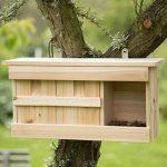 Relaxdays Nichoir à moineau avec 3 compartiments en bois avec portes HxlxP: 21,5 x 43 x 14,5 cm, couleur nature de la marque Relaxdays image 1 produit