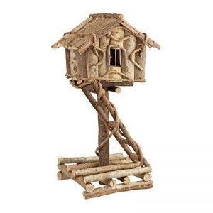 Relaxdays Nichoir à oiseaux décoration maison à oiseaux en bois sur pied à poser villa fait main, nature de la marque Relaxdays image 0 produit