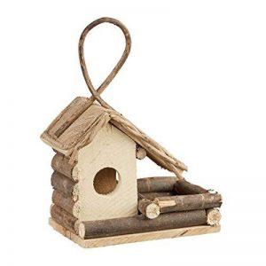 Relaxdays Nichoir à oiseaux décoration maison à oiseaux en bois à suspendre villa fait main, nature de la marque Relaxdays image 0 produit