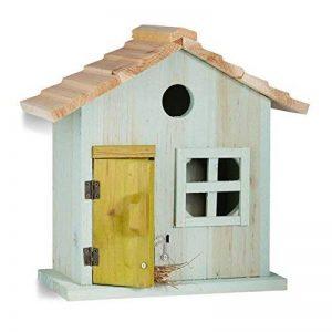 Relaxdays Nichoir à oiseaux en bois forme de maison avec porte et fenêtre HxlxP: 25,5 x 15,8 x 13 cm, bleu clair de la marque Relaxdays image 0 produit