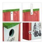 Relaxdays Nichoir à oiseaux HOME SWEET HOME pour petits oiseaux bois porte HxlxP 21,5 x 12 x 15,2 cm à suspendre, vert rouge de la marque Relaxdays image 4 produit