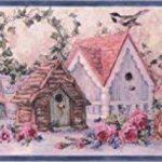 rustique Rose Fleurs bleues nichoirs vintage papier peint Bordure Design rétro, rouleau de 15'x 17,8cm de la marque Chesapeake image 1 produit