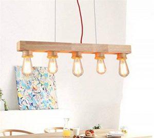 Suspension Table Lampe suspension Lampe suspension de long en bois rustique Hauteur réglable Lampe suspension rétro hängend Lampe Plafonnier avec ampoule E27pour salle à manger salon bureau cafe de la marque Q-Yu image 0 produit