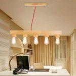 Suspension Table Lampe suspension Lampe suspension de long en bois rustique Hauteur réglable Lampe suspension rétro hängend Lampe Plafonnier avec ampoule E27pour salle à manger salon bureau cafe de la marque Q-Yu image 2 produit