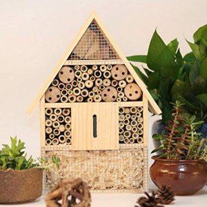 SY-Online Hôtel à insectes en bois–29x 9.5x 39cm–Bois naturel insectes Maison–Abri de jardin en bambou gigognes Habitat pour abeilles Papillons coccinelles de la marque SY-Online image 0 produit