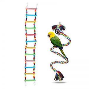 UEETEK Coloré Échelle Oiseau Jouet 12-Échelles Flexible Échelles En Bois Pont Arc-En-Ciel Et 1 M Corde Oiseau Échelle Perroquet Jouets Cage Accessoires pour Perroquets Animaux Trainning de la marque UEETEK image 0 produit