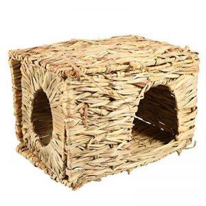 UEETEK Naturel fait à la main Herbe Hut Lit Maison Paille Herbe Oiseau Cubby Nid Cage Pour Lapin Lapin Hamster Gerbille Chinchillas de la marque UEETEK image 0 produit