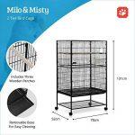 Volière cage à oiseaux à 2 étages Milo & Misty pour perruches, cacatoès, perroquets, inséparables, mandarins et autres ; noir de la marque Milo & Misty image 1 produit