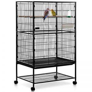 Volière cage à oiseaux à 2 étages Milo & Misty pour perruches, cacatoès, perroquets, inséparables, mandarins et autres ; noir de la marque Milo & Misty image 0 produit