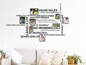 Wallflexi Stickers muraux Citation de règles de la maison avec cadre photo Cage à oiseaux Stickers muraux Décoration Salon Chambre d'enfant Restaurant Hôtel Café Décor, Multicolore de la marque Wallflexi image 0 produit