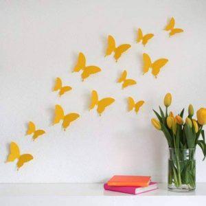 Wandkings «Papillons dans un style 3D» de couleur JAUNE pour la décoration murale, 12 unités dans un set avec des points de collage pour la fixation de la marque Wandkings.de image 0 produit