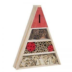 Wedestock Maison à Insectes, Hôtel Refuge en Bois Forme Triangle à Poser ou Suspendre Détails Rouges de la marque Wedestock image 0 produit