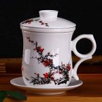 XIDUOBAO Chinese Style Porcelain Handmade Kung Fu Tea Cup,Ceramic Tea Cup With Loose Leaf Tea Brewing System - Beautifully Designed Tall Tea Infuser Cup With Saucer & Lid de la marque XIDUOBAO image 1 produit