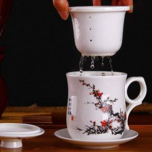 XIDUOBAO Chinese Style Porcelain Handmade Kung Fu Tea Cup,Ceramic Tea Cup With Loose Leaf Tea Brewing System - Beautifully Designed Tall Tea Infuser Cup With Saucer & Lid de la marque XIDUOBAO image 0 produit